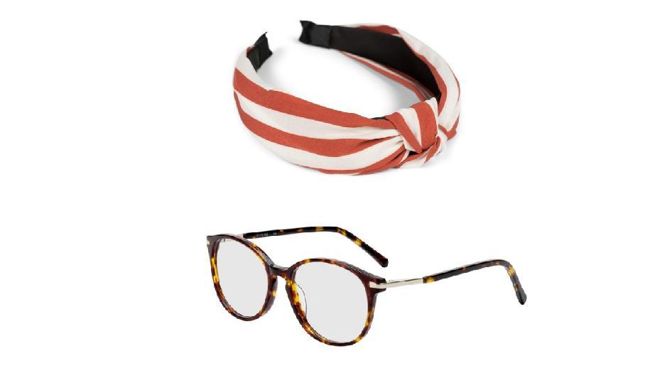 Hornbrille mit Streifen-Haarband