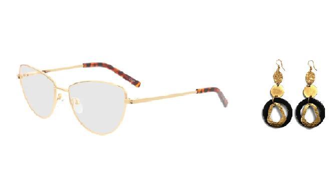 Stylishe Kombination: goldene Brille mit Statement-Ohrringen