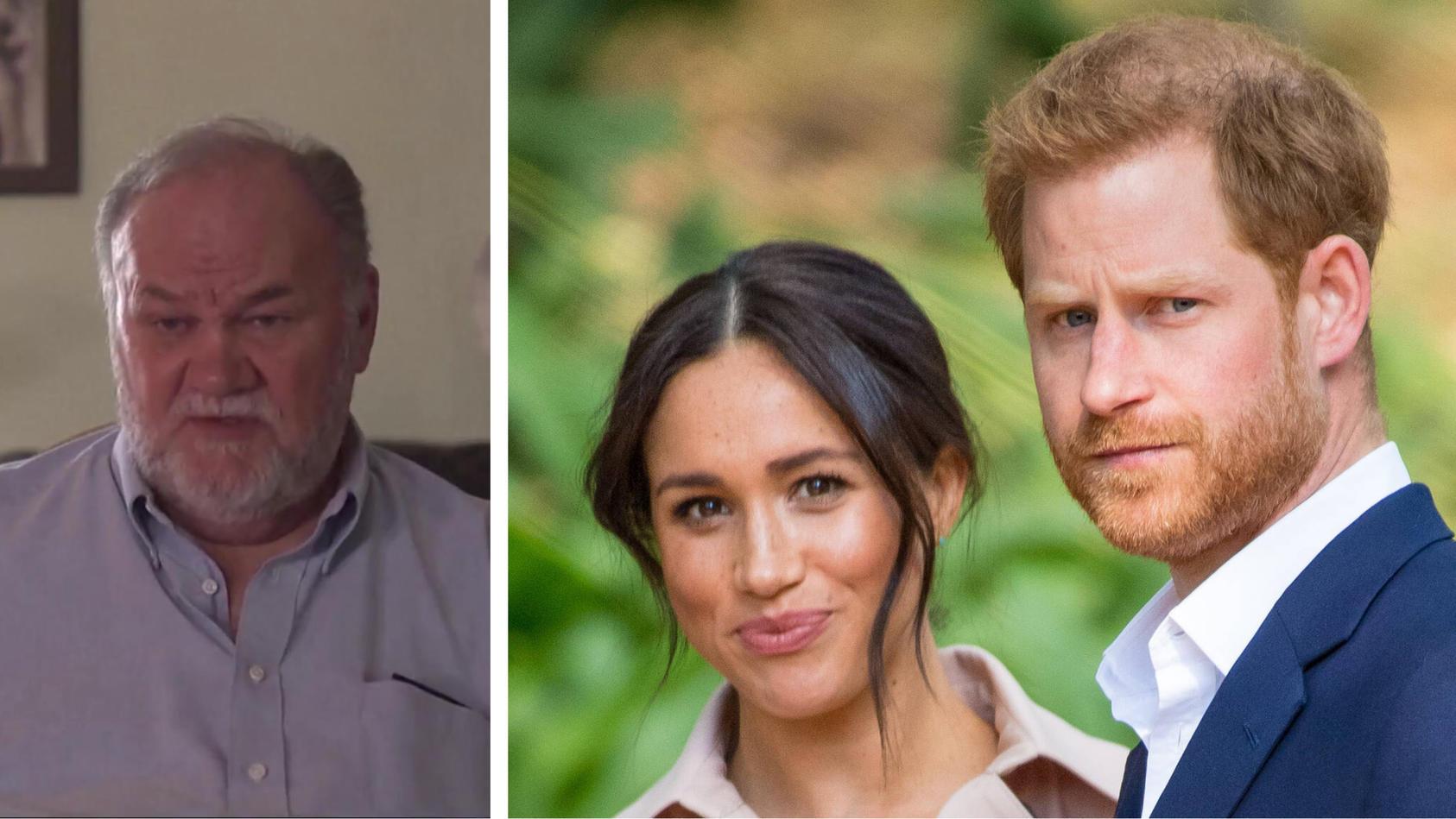 Meghans Vater Thomas Markle (l.) hat eine klare Meinung: Herzogin Meghan (m.) und Prinz Harry (r.) jammern zu viel