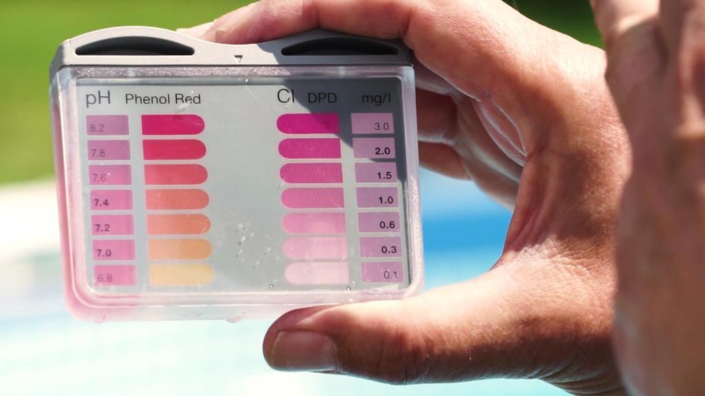 Teststreifen zeigen den Chlorgehalt im Poolwasser.