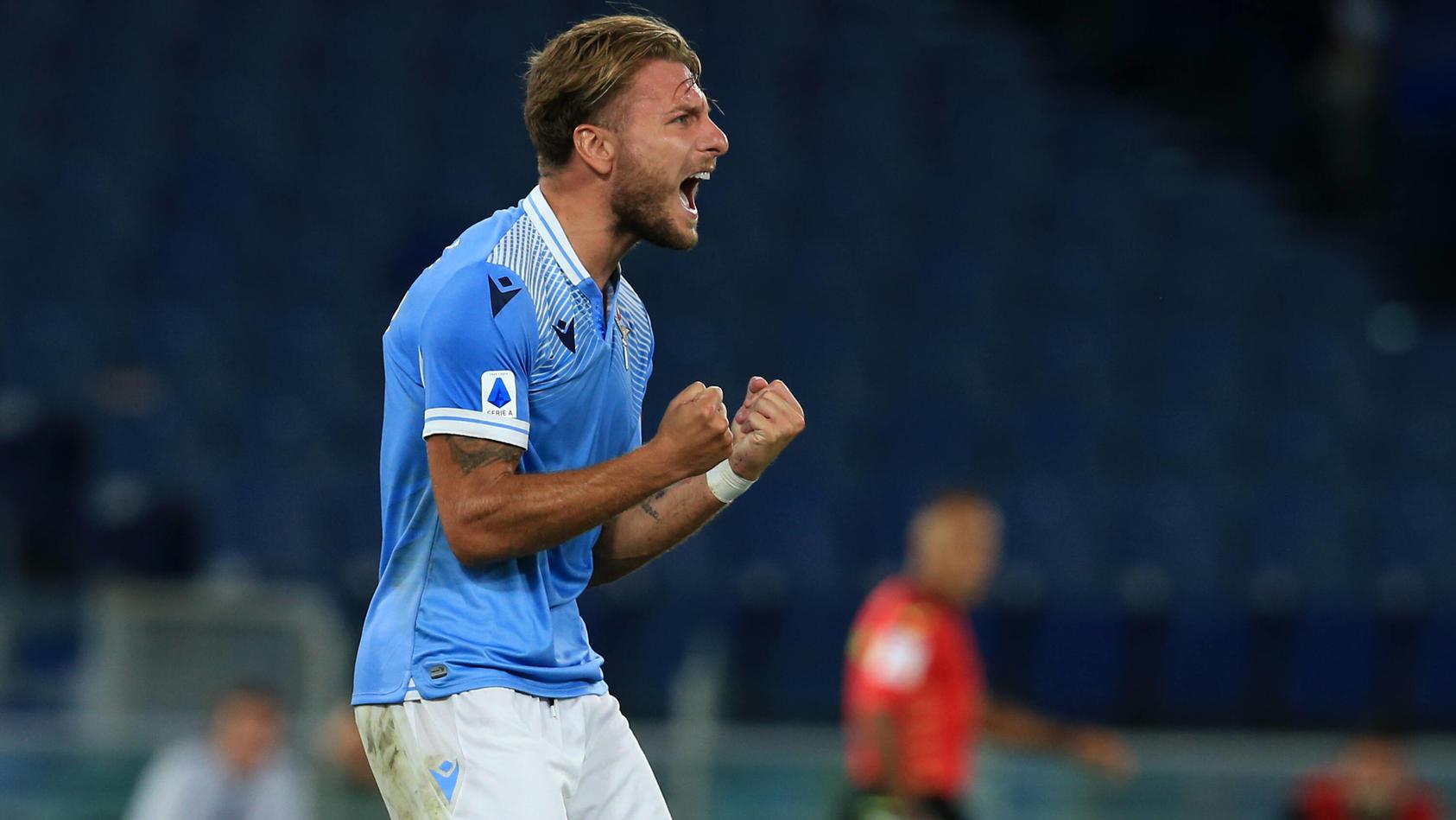 Italy: Serie A : SS Lazio beat Brescia Calcio Ciro Immobile (Lazio) celebrates after scoring a goal during the Serie A
