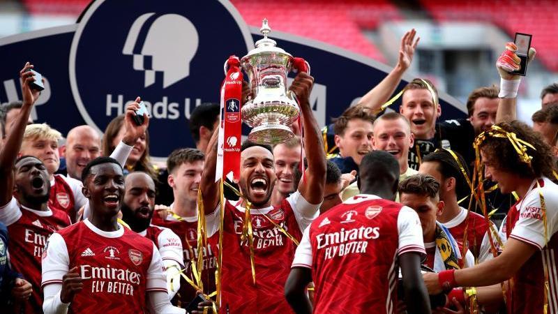 Pierre-Emerick Aubameyang (M) schoss den FC Arsenal zum FA-Cup-Sieg. Foto: Adam Davy/PA Wire/dpa