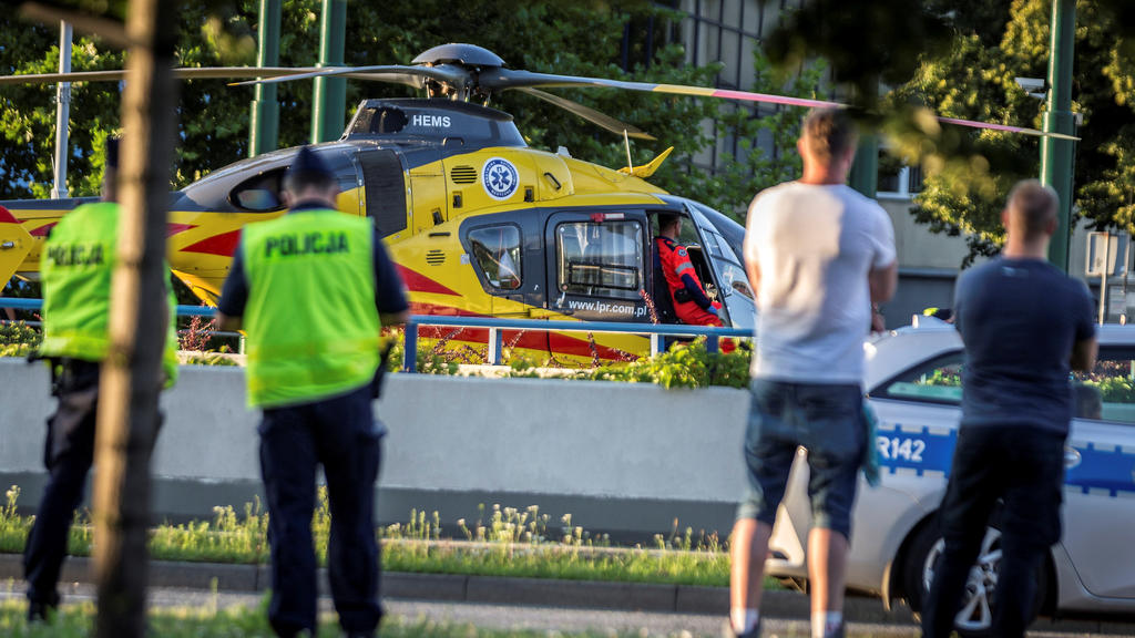 A rescue helicopter is seen on the site where Dutch cyclists Fabio Jakobsen and Dylan Groenewegen crashed, while at the finish line on stage one of the Tour de Pologne in Katowice, Poland August 5, 2020.  Grzegorz Celejewski/Agencja Gazeta/via REUTER