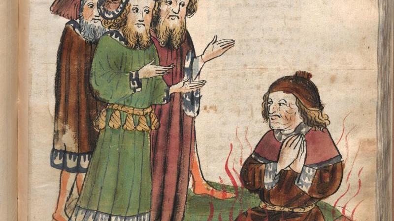 Eine Zeichnung zeigt die Hinrichtung des Reformators Johannes Hus im Jahr 1415. Foto: Österreichische Nationalbibliothek /dpa/Archivbild