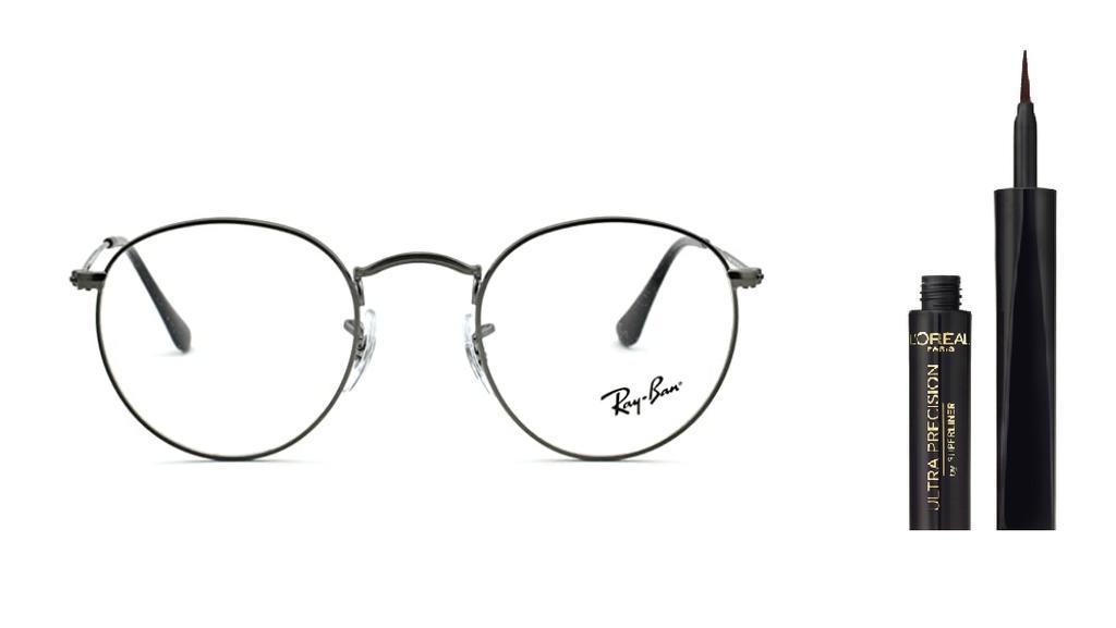 Brille von Ray-Ban und Eyeliner von L'Oréal