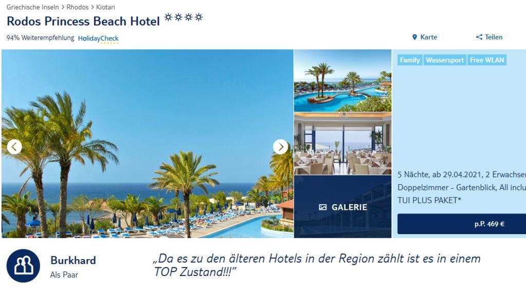 """Das Angebot des """"Rodos Princess Beach"""" auf der Webseite von TUI."""