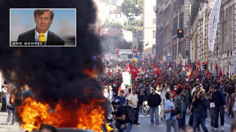 RTL-Reporter Udo Gümpel berichtet über seine Beobachtungen bei den Krawallen in Rom.