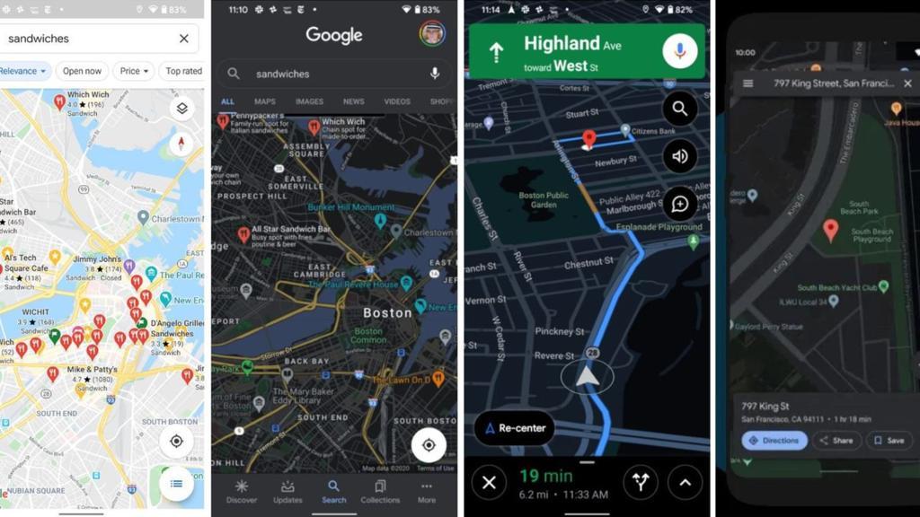So soll der Dark Mode bei Google Maps aussehen.