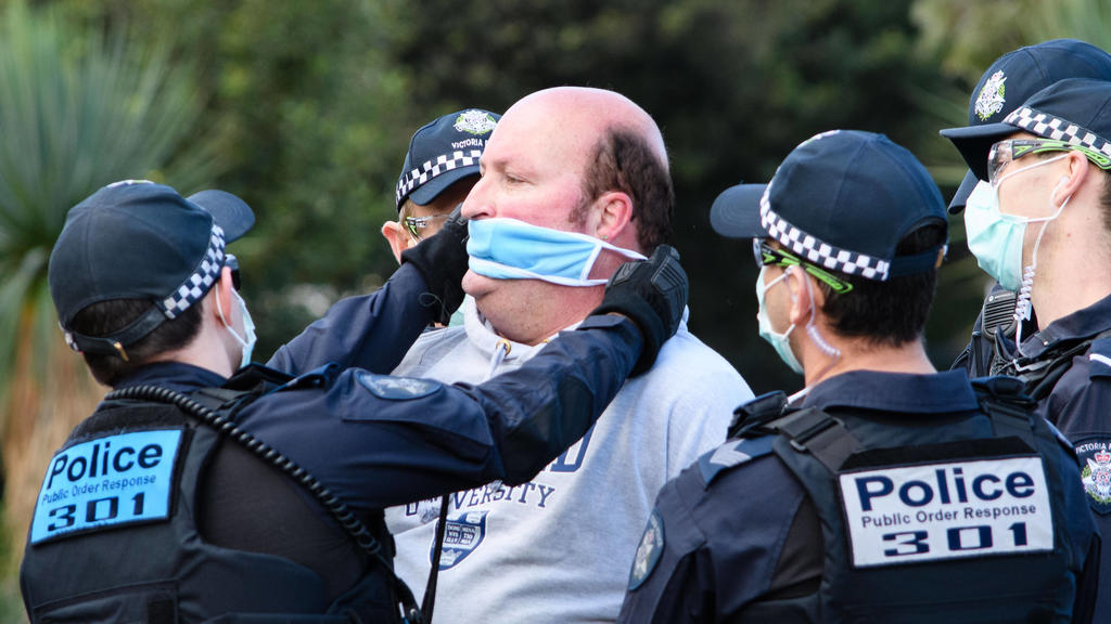 September 5, 2020, Melbourne, Victoria, Australia: A protester is arrested at a Freedom Day protest against lockdown regulations in Melbourne. Melburnians are only permitted to leave home for four reasons which does not include protesting. Melbourne