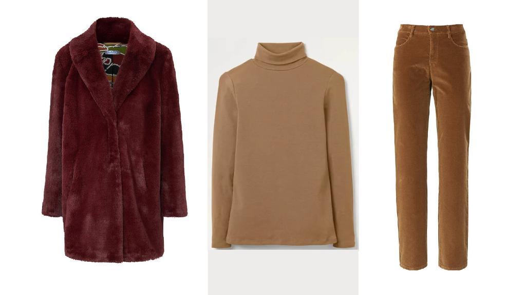 Mantel von MYBC kombiniert zu einem Boden Rollkragen-Shirt und Brax Cordhose.