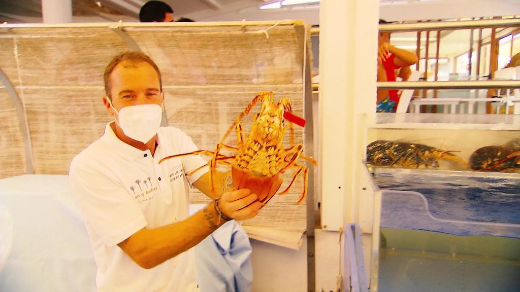 """Koch des """"Juan y Andrea"""" zeigt fangfrische Languste"""
