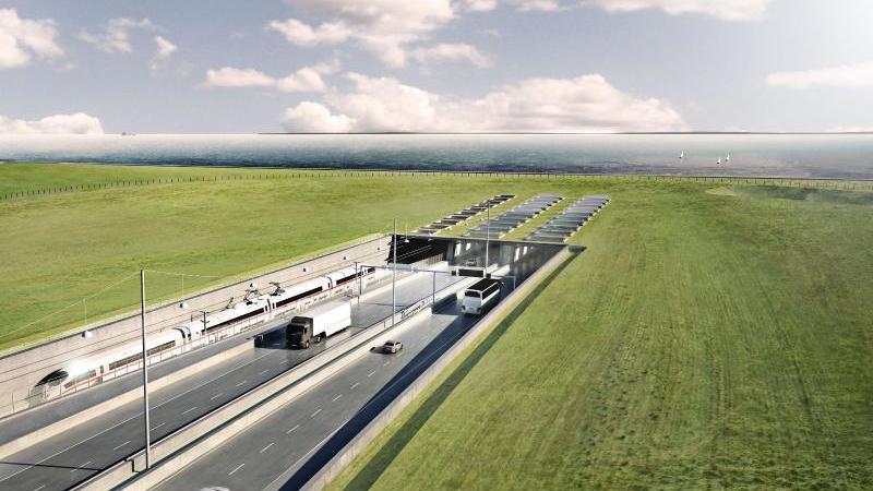 Eine Visualisierung des geplanten Fehmarnbelt-Tunnels. Foto: ICONO A/S/Femern A/S/dpa/Handout