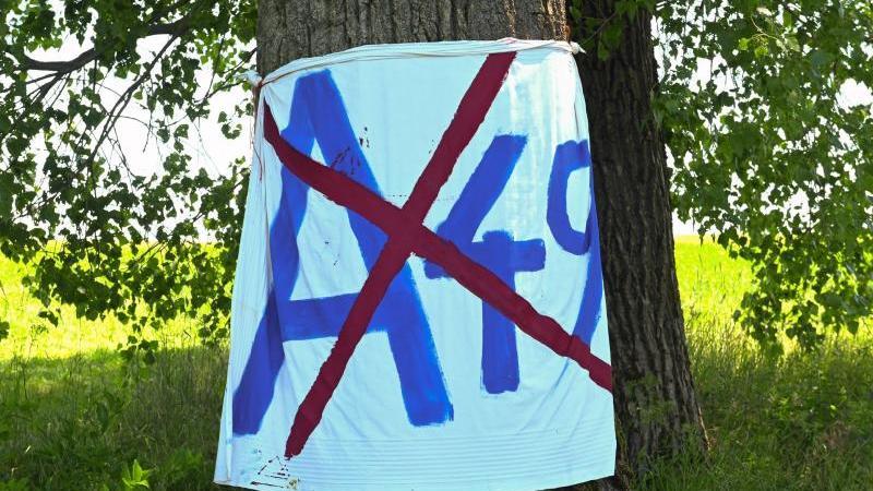 Ein Transparent gegen die A49 hängt im Dannenröder Forst. Foto: Uwe Zucchi/dpa/Symbolbild