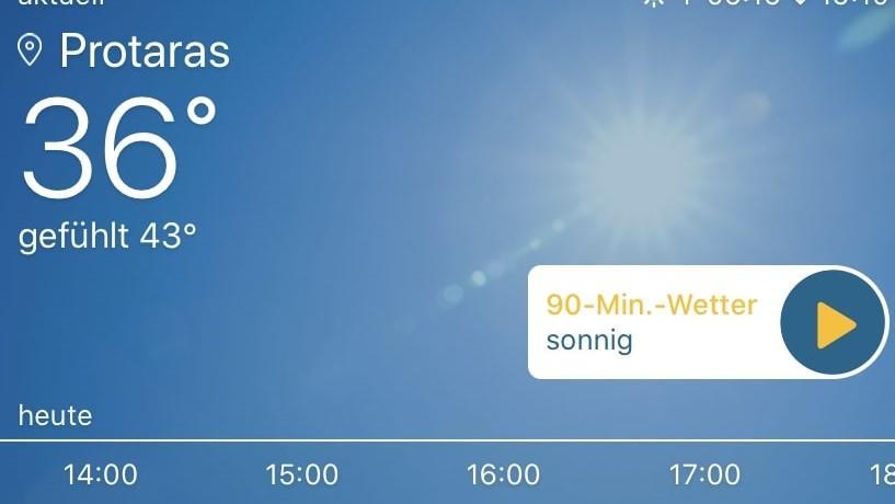 Screenshot von Wetterapp