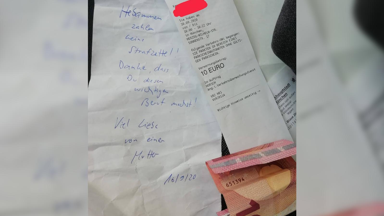 Eine unbekannte Frau hat einer Hebamme ihren Strafzettel bezahlt.