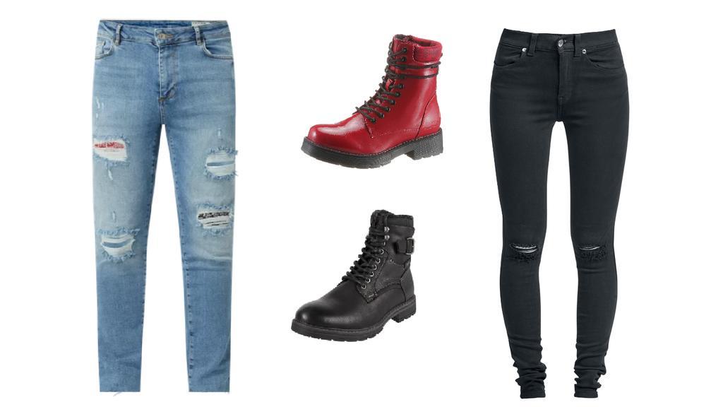 Grunge-Look mit Ripped Jeans und Boots