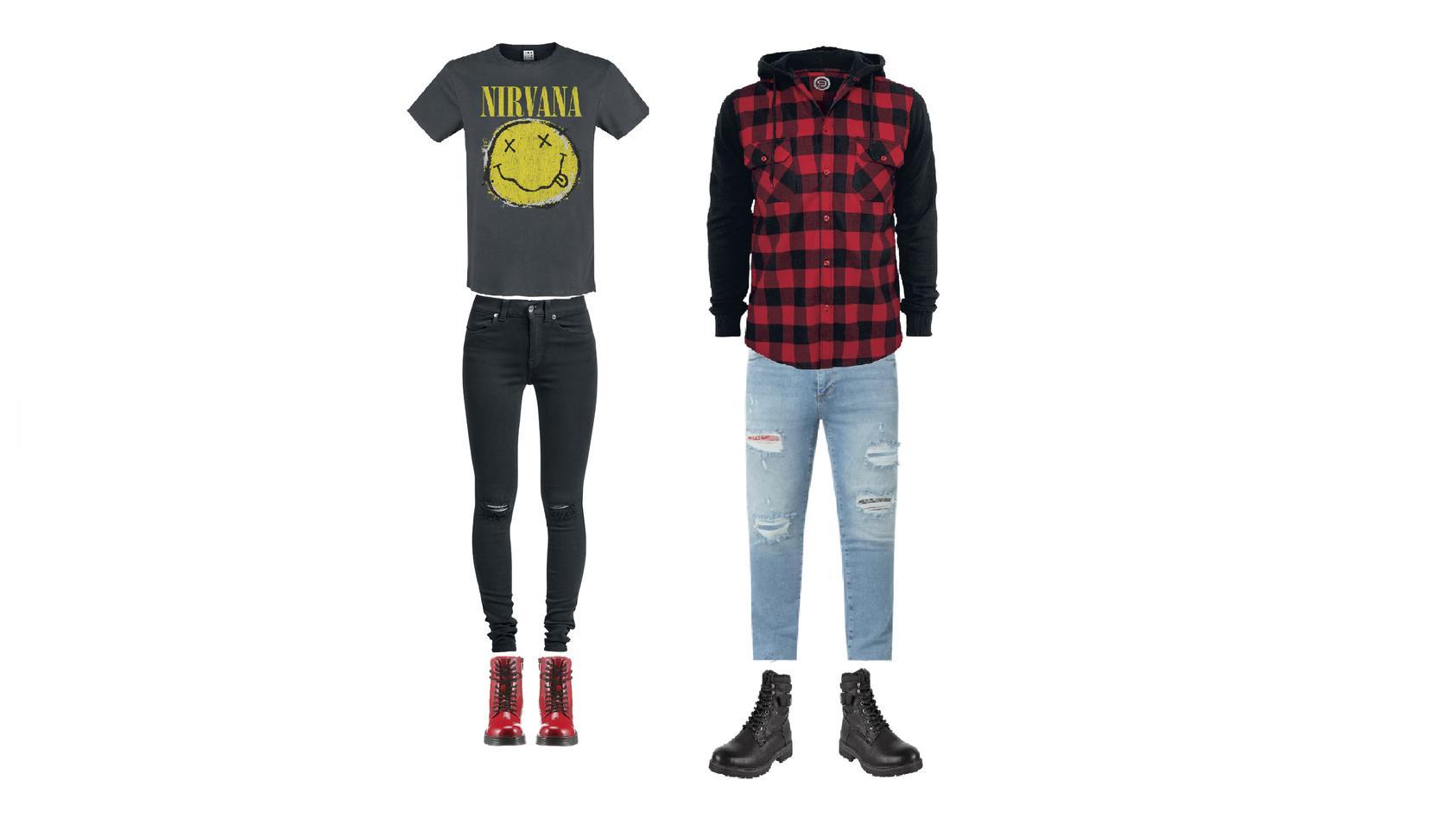 Typisch für den Grunge-Style sind Flanellshirts, Bandshirts und zerrissene Jeans.
