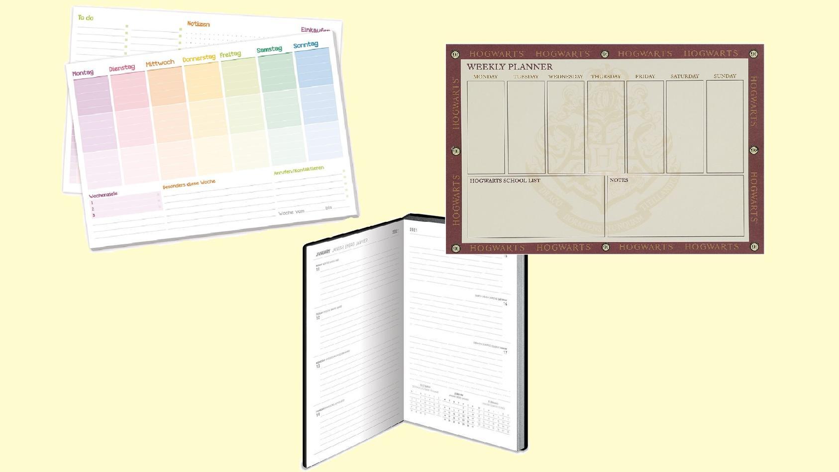 Mit Wochenplanern und Kalendern behalten Sie alle wichtigen Dinge im Überblick.