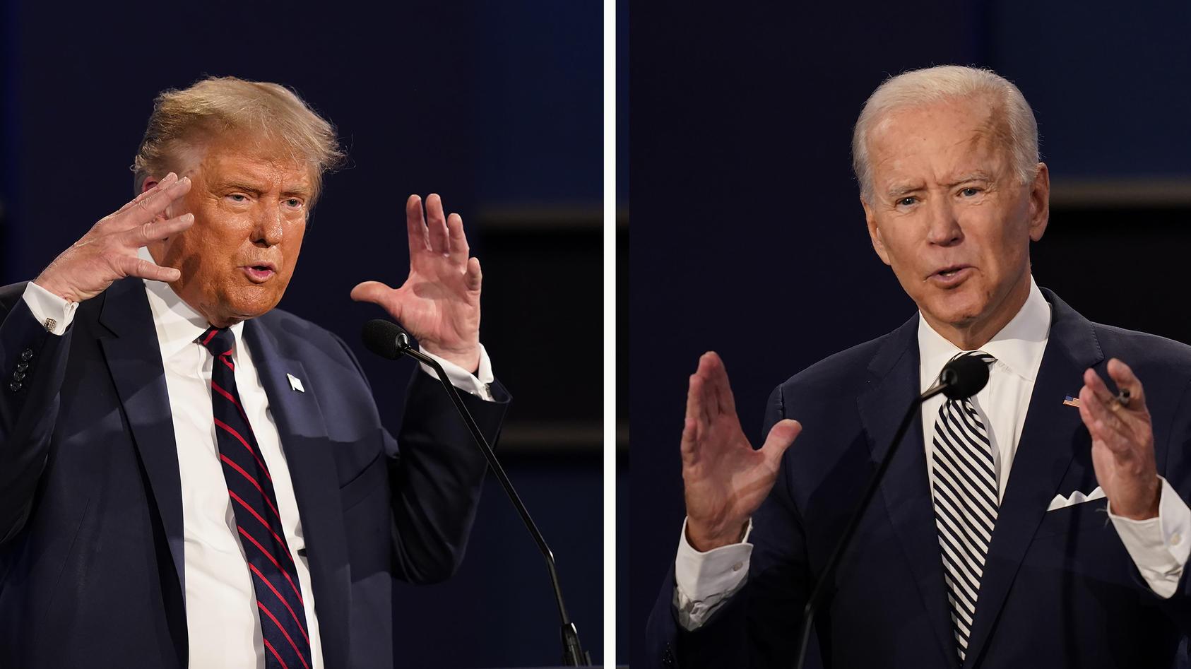 """US-Präsidentschaftskandidat JoeBidenhat den Auftritt von Amtsinhaber Donald Trump beim TV-Duell der beiden Kontrahenten als """"Peinlichkeit für dasLand"""" bezeichnet."""