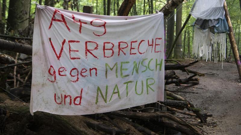 """""""A49 - Verbrechen gegen Mensch und Natur"""" steht auf einem Schild an einer Barrikade im Dannenröder Forst. Foto: Boris Roessler/dpa/Archivbild"""