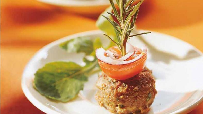 Außergewöhnlich und vegetarisch Kastanien-Tofu-Burger.