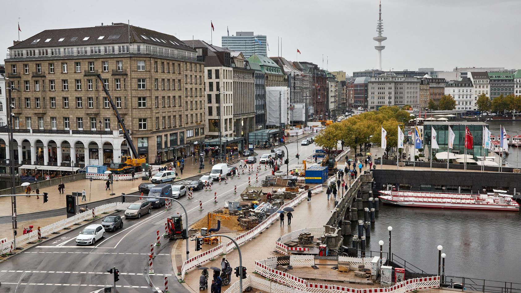 Umbaubeginn des Jungfernstiegs zur autofreien Zone