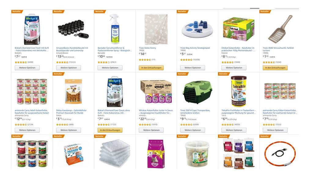 Tiernahrung und Haustierprodukte bei Amazon