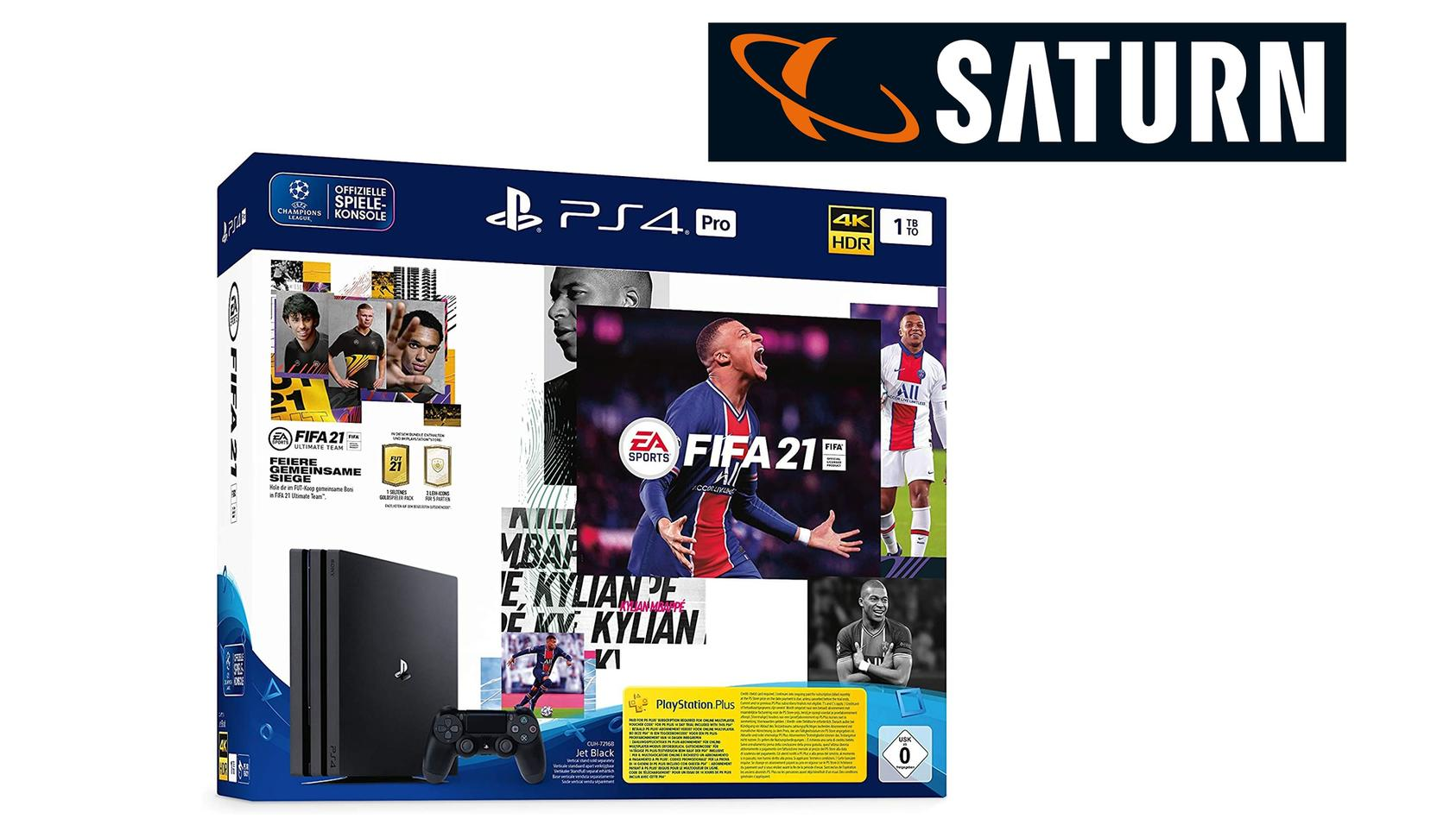 """Die PS4 Pro gibt es im Bundle mit """"FIFA 21"""" bei Saturn zum Deal-Preis."""