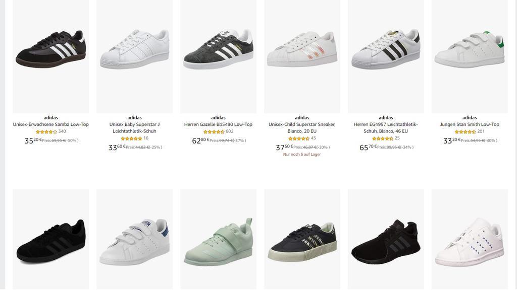 Diverse Adidas-Schuhe im Angebot des Tages bei Amazon