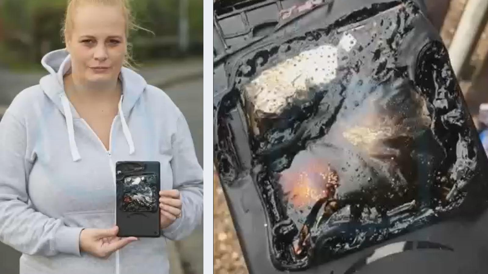 Lauren Adams hält ihr explodiertes Tablet in der Hand.