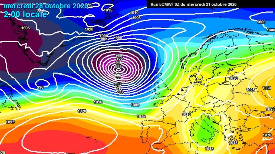 Mitte nächster Woche wird ein extremes Orkantief über dem Atlantik berechnet (Bild meteociel.fr)