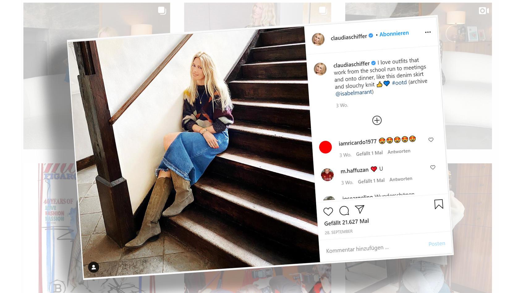 Claudia Schiffer strahlt in diesem Instagram-Look. Wir verraten, wo Sie das Outfit nachshoppen können.