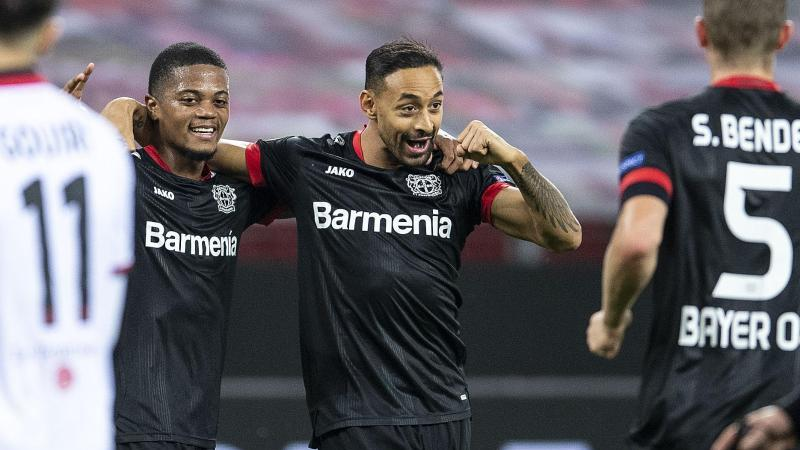 Karim Bellarabi (M) steuerte zwei Treffer zum Leverkusener Sieg gegen Nizza bei. Foto: Marius Becker/dpa
