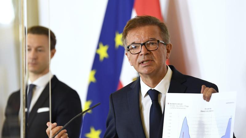 Rudolf Anschober(r), Gesundheitsminister von Österreich, gestikuliert. Foto: Robert Jaeger/APA/dpa