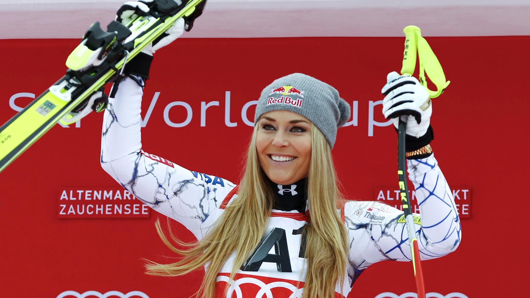 Lindsey Vonn feiert einen ihrer vielen Triumphe.