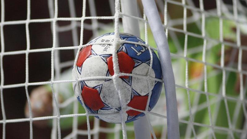 Ein Handball fliegt durch das Netz. Foto: Jens Wolf/dpa/Symbolbild