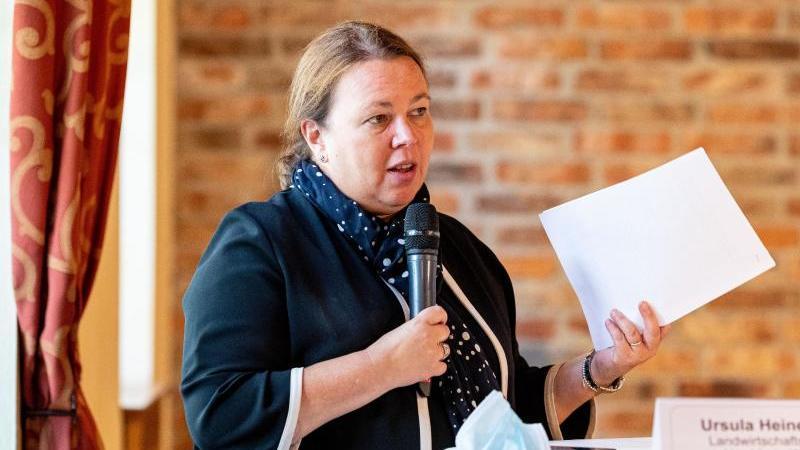 Ursula Heinen-Esser (CDU) spricht auf einer Pressekonferenz. Foto: Moritz Frankenberg/dpa/Archivbild
