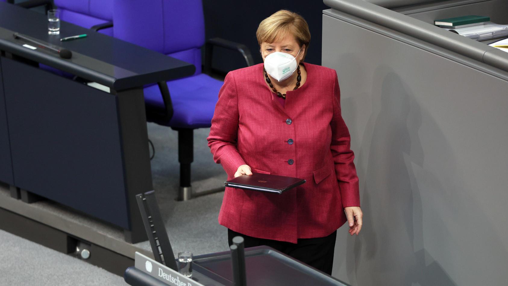 Bundeskanzlerin Angela Merkel im Bundestag.