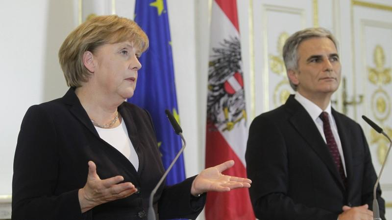Bundeskanzlerin Angela Merkel besuchte den österreichischen Regierungschef Werner Faymann.