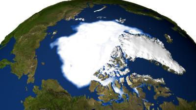 ARCHIV - Die Satellitenaufnahme zeigt die Eisfläche am Nordpol (Archivfoto von September 2002). Der Klimawandel in der Arktis nimmt dramatische Ausmaße an: Die Herbst-Temperaturen lägen mittlerweile um fünf Grad über dem Normalwert, teilte die US-Kli