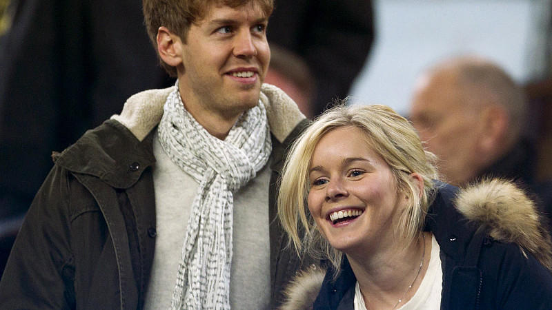 German Formula One pilot Sebastian Vettel and his girlfriend Hanna Prater arrive to the Spanish Primera Division soccer match FC Barcelona versus Valencia CF at Camp Nou stadium, in Barcelona, northeastern Spain, on 19 February 2012.EFE/Alejandro Gar