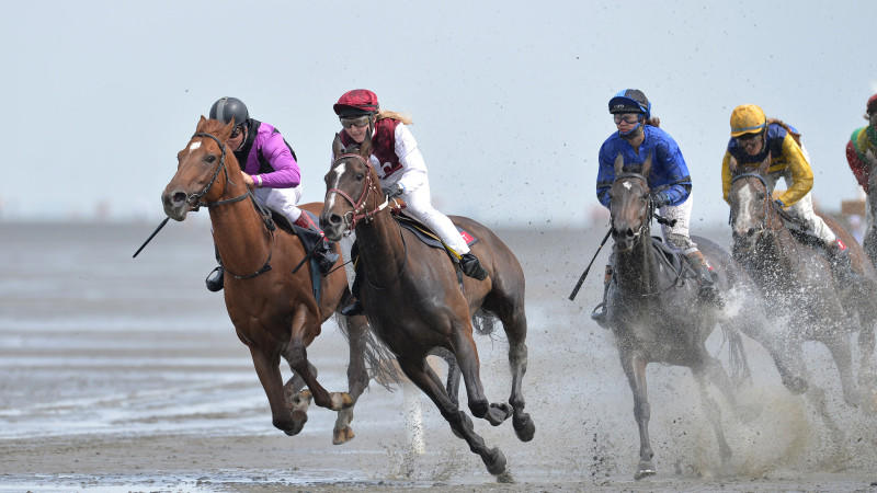 Mehr als 150 Reiter nahmen an dem traditionelle Duhner Wattrennen teil.