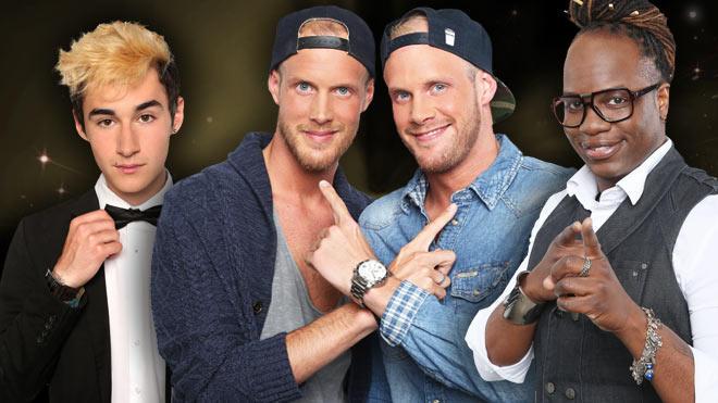 """Neben Niklas Budinsky, den Zwillingen Erik und Dominik Heikaus und The Latonius, treten in der ersten Liveshow noch sechs weitere """"Rising Star""""-Talente an."""