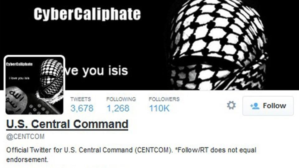 So sah der Twitter-Account des US-Zentralkommandos nach dem Hackerangriff aus.