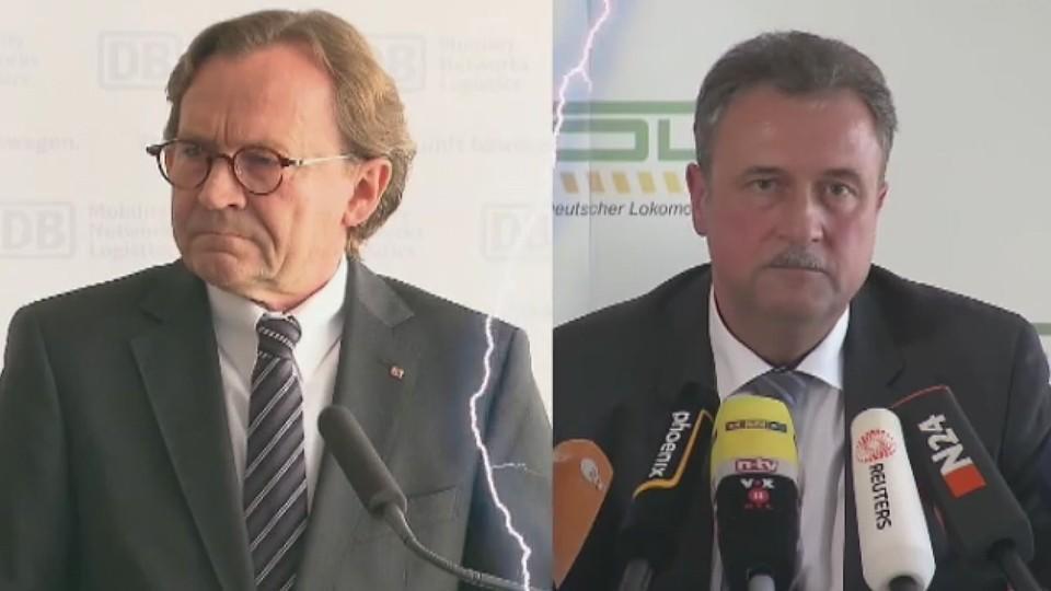 Bahn-Vorstand Weber und GDL-Chef Weselsky.