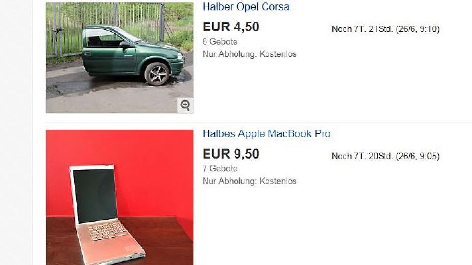 Auf eBay verkauft der Mann nicht nur das halbe Auto und das halbe MacBook sondern noch 14 weitere Dinge - zur Hälfte.
