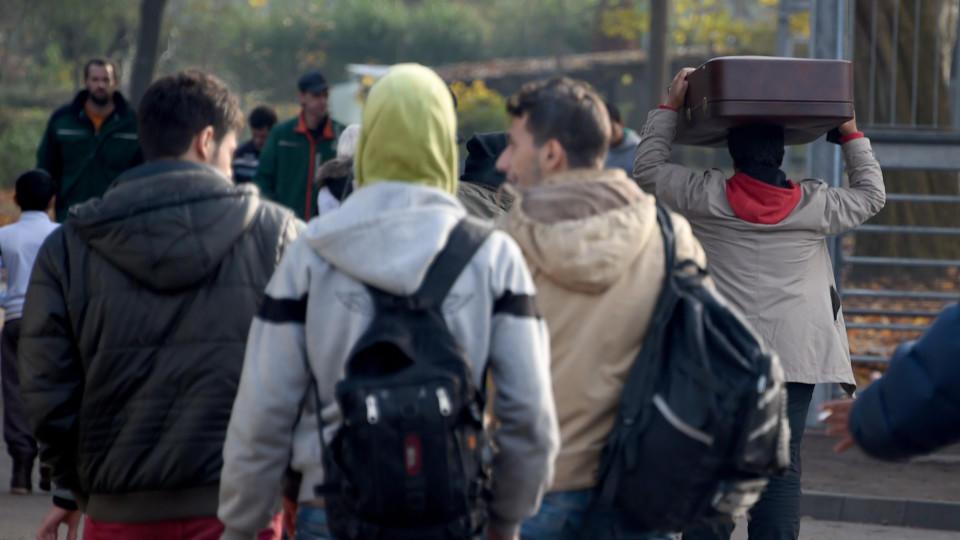 Flüchtlinge auf der Reise durch Europa.