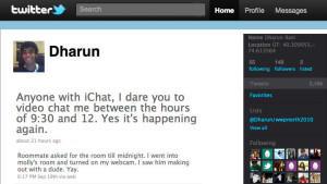 """Dharun R. postete per Twitter: """"Ich sah, wie er mit einem anderen Typen rumgemacht hat. Yeah."""""""