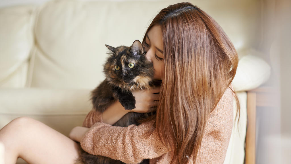 Shot of a young woman cuddling her cat at homehttp://195.154.178.81/DATA/i_collage/pu/shoots/805444.jpg