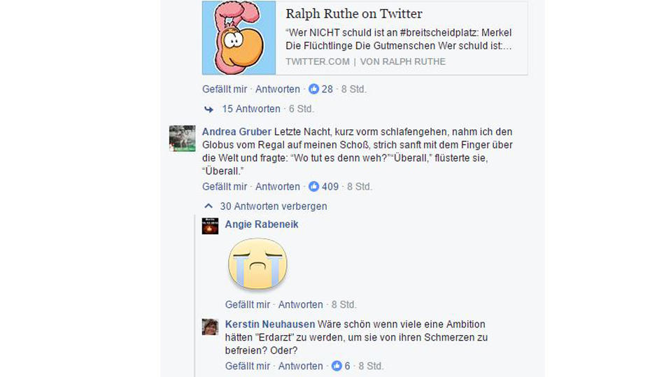 Facebook-Reaktionen